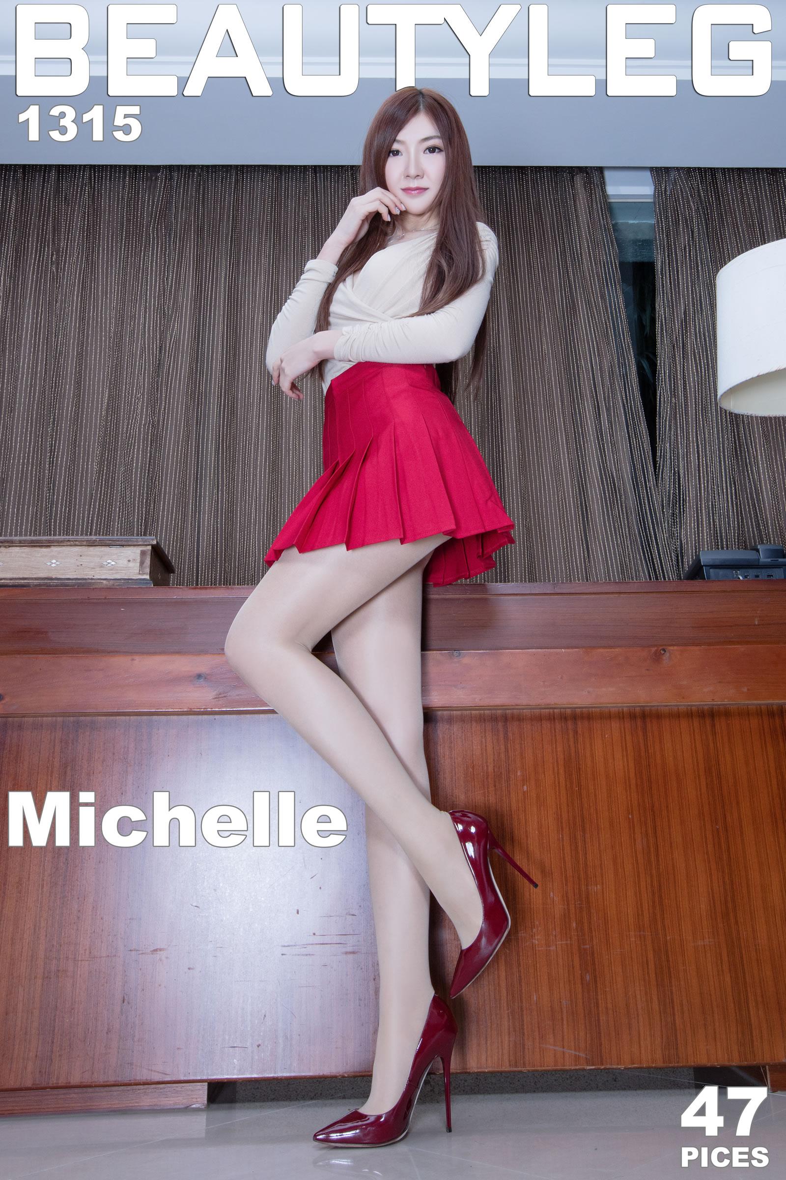 [beautyleg丝袜美腿模特写真]米色上衣加红色蓬蓬裙美女Michelle厚肉丝裤袜与酒红色高跟美腿写真