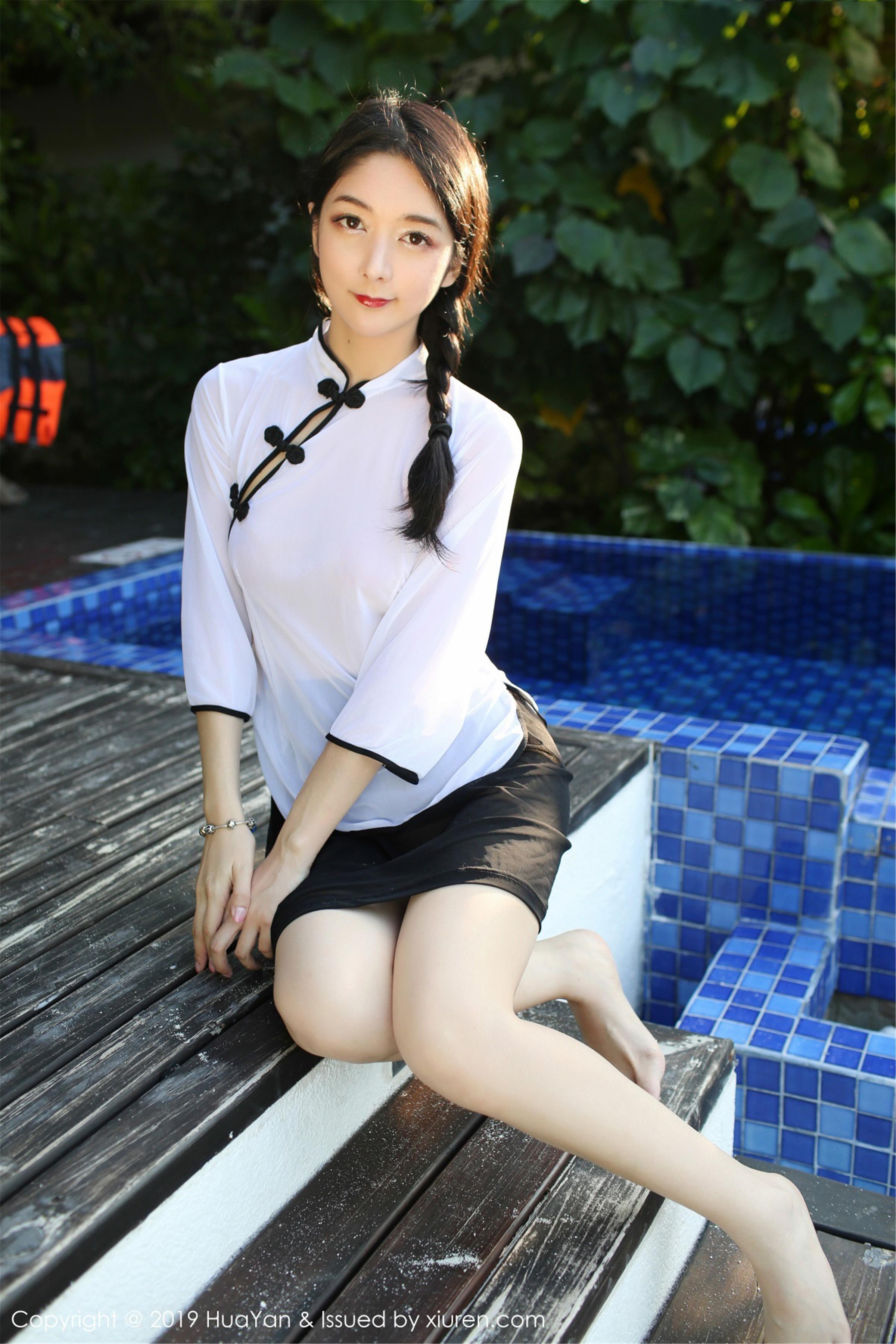 [HuaYan花の颜]HY20190425VOL0065 Angela喜欢猫 白色透视民国女生制服与白色短袖性感私房写真集