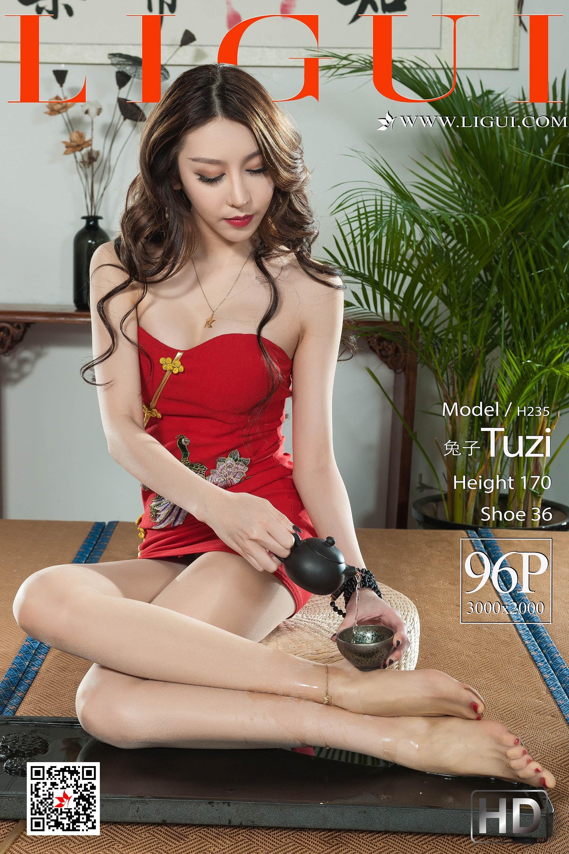 [Ligui丽柜会所]2019-05-01 Model 兔子 红色抹胸裙加肉色丝袜美腿玉足性感私房写真集