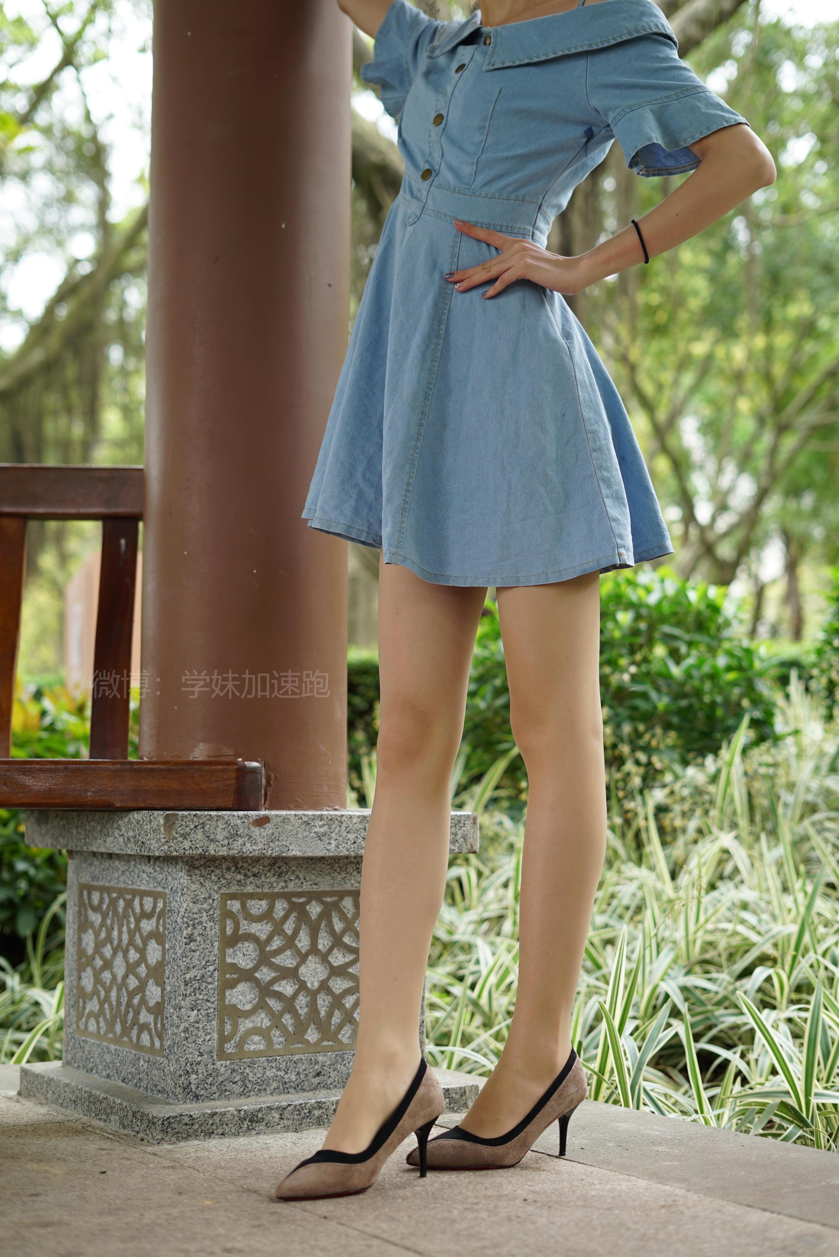 [学妹加速跑]XM016 《六六学妹1》 蓝色连衣裙加肉丝美腿街拍写真集,