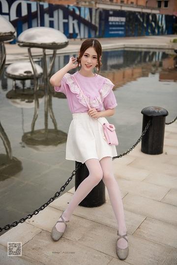 [SSA丝社]NO.009 阳光少女 小琪琪 白色短裙加白色丝袜美腿写真